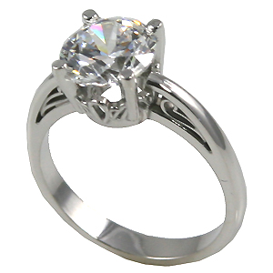 14k Gold Russian CZ Cubic Zirconia 14k Antique/Scroll Solitaire Ring - Product Image