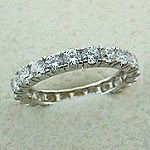 14k White Gold CZ/Cubic Zirconia Eternity Ring / Wedding Band  - Product Image