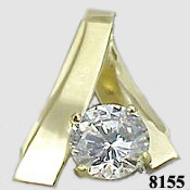 14k Gold 1ct Russian CZ Cubic Zirconia , Slide/Pendant - Product Image