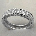 14k White Gold CZ Cubic Zirconia Antique Style Eternity Ring - Product Image