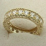 14k Gold Antique Style Eternity CZ Cubic Zirconia Ring - Product Image