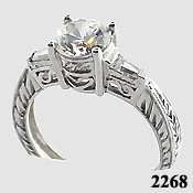 14k White Gold Cubic Zirconia Antique style ring Round/Baguette - Product Image