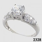 14k Gold White 1.5 ct Russian CZ/Cubic Zirconia Pave` ring - Product Image