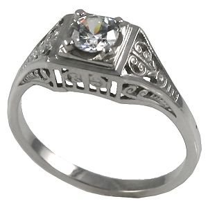 14k Gold 1/2 ct CZ Cubic Zirconia Antique/Deco Solitaire Ring - Product Image