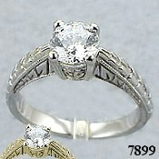 14k Gold Antique Style Solitaire CZ Cubic Zirconia Ring - Product Image
