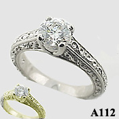 1ct 14k Gold Antique Lucern CZ Cubic Zirconia Engagement Ring - Product Image