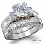 1ct Sterling Silver Antique CZ Cubic Zirconia Cathedral Style Engagement Ring / Wedding Set - Product Image