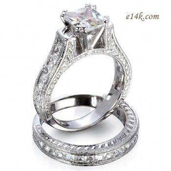 1ct Sterling Silver Antique Cz Cubic Zirconia Cathedral Style Engagement Ring Wedding Set