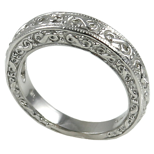 14k Gold Antique Fancy Wedding Band Ring - Product Image