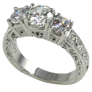 14k Gold 2 ctw 3 Stone Antique/Deco CZ Cubic Zirconia Ring - Product Image