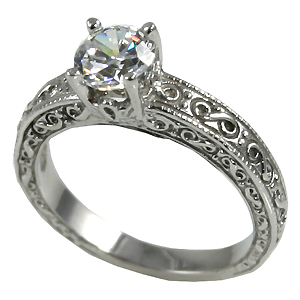 1Ct 14k Gold Antique CZ Cubic Zirconia Engagement Ring - Product Image