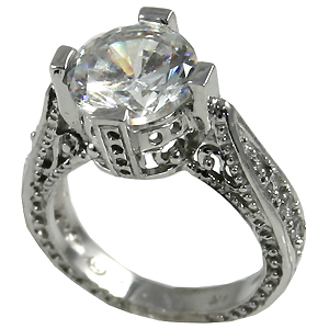 14k Gold 3ct Fancy Antique/Victorian CZ Cubic Zirconia Ring - Product Image