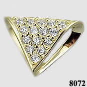 14k Gold Fancy Omega Slide CZ Cubic Zirconia Pendant - Product Image