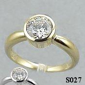 14k Gold Russian CZ/Cubic Zirconia Bezel Engagement Ring - Product Image