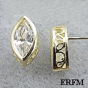 Solid 14k Gold Marquis Cut Filigree Bezel CZ Cubic Zirconia Earrings - Product Image