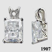 14k Gold Emerald Cut Antique/Scroll Style CZ Cubic Zirconia Pendant - Product Image