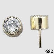 14k Gold Tube Bezel Round Brilliant CZ Cubic Zirconia Earrings - Product Image