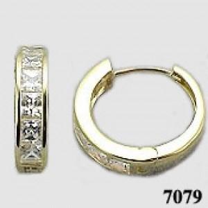 14K White Gold Princess Cut Cubic Zirconia Channel Set Huggie Hoop Earrings
