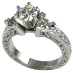 14k Gold Antique/Deco Round Trillions CZ Cubic Zirconia Ring - Product Image