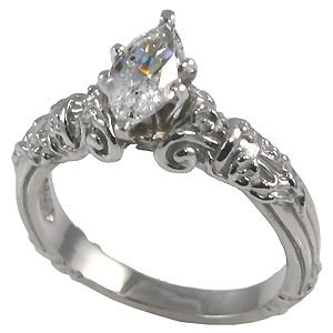 14k Gold Marquis Antique Engagement CZ Cubic Zirconia Ring - Product Image