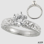 Sterling Silver CZ Cubic Zirconia Rings Antique Victorian Engagement Ring - Product Image