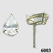 Solid 14k Gold 2 Carat Pear Cut CZ Cubic Zirconia Earrings - Product Image