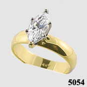 14k Gold Marquis CZ 4mm Wide Band Engagement Solitaire Ring - Product Image