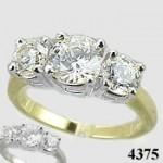 14k Gold 3 Stone CZ Cubic Zirconia Wedding Engagement Ring - Product Image