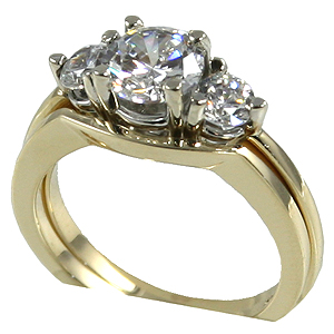 14k Gold Cubic Zirconia CZ 3 stone wedding set Ring Band - Product Image