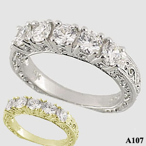 Platinum Antique 5 Stone Wedding/Anniversary Ring Band - Product Image