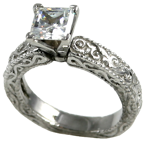 14k Gold Antique Victorian Engagement CZ Cubic Zirconia Ring - Product Image