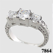 14k Gold 3 Stone Princess Cut Antique Anniversary CZ Ring - Product Image