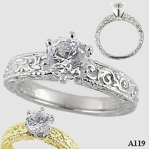 Platinum Antique/Victorian Cubic Zirconia Engagement Ring - Product Image