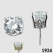 Platinum Russian CZ Cubic Zirconia Basket Stud Earrings - Product Image