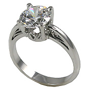 Platinum Antique Scroll Solitaire Engagement Ring - Product Image