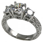14k Gold 2.25 ctw 3 Stone Victorian CZ Cubic Zirconia Ring - Product Image