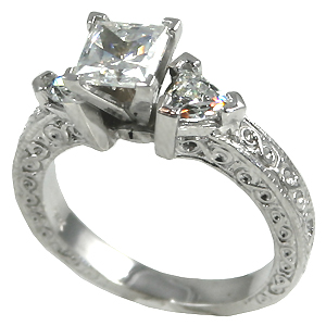 14k Gold Antique/Deco Princess Trillions CZ Cubic Zirconia ring - Product Image