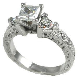 14k Gold Antique/Deco Princess Trillions CZ Cubic Zirconia ring - Product Image