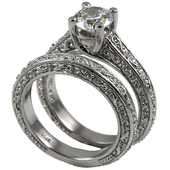 14k Gold Antique style Wedding Set CZ Cubic Zirconia Ring - Product Image