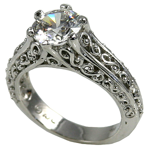 14k  Gold Antique/Filigree Solitaire CZ Cubic Zirconia Ring - Product Image
