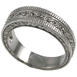 14k Gold Mens Antique Fancy Wedding Band Ring (HEAVY) - Product Image