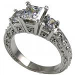 14k Gold 2 ctw 3 Stone Antique Princess/Round Cubic Zirconia Ring - Product Image