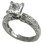 14k Gold CZ Cubic Zirconia Rings Antique Style Engagement Ring - Product Image