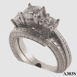 14k Gold 3 Stone Antique style Wedding Set CZ Cubic Zirconia Ring - Product Image