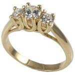 14k Gold Lucern 3 Stone CZ Cubic Zirconia Ring - Product Image
