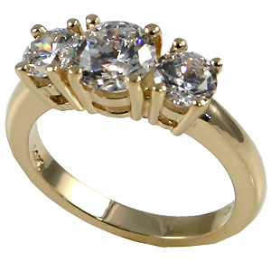 14k Gold 3 Stone CZ/Cubic Zirconia Anniversary Ring - SOLID HEAVY! - Product Image
