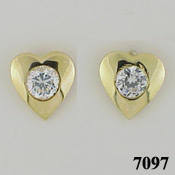 14k Gold Heart Bezel CZ Cubic Zirconia Earrings - Product Image