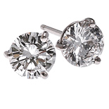 14k Gold 3 Prong Russian CZ Cubic Zirconia Stud Earrings - Product Image