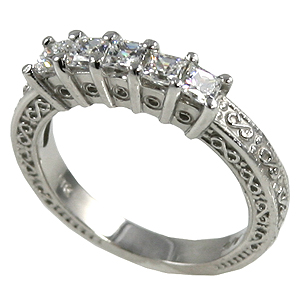 14k Gold 1 ctw Princess Antique Wedding/Anniversary CZ Band Ring - Product Image