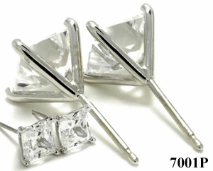 14k Gold 4 Prong Princess Cut Russian CZ Cubic Zirconia Stud Earrings - Product Image